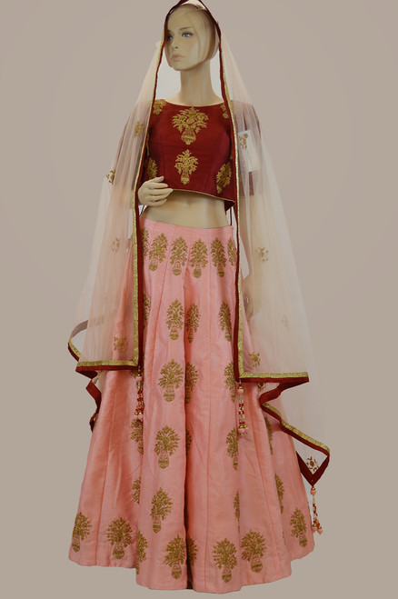 Red and pink lehengha choli (L0179)