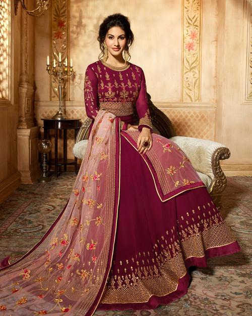 Designer dress in red color