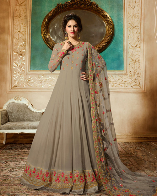 Elegant dress in grey color
