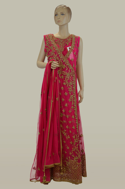 Pink color jacket style gown