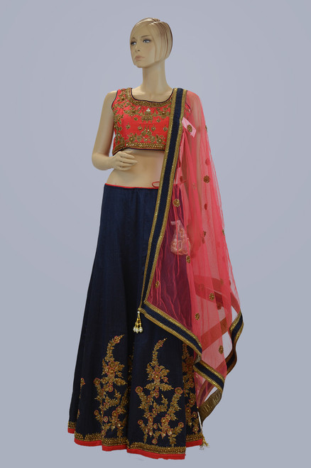 Navy Blue and Pink Lehengha Choli (L0182)