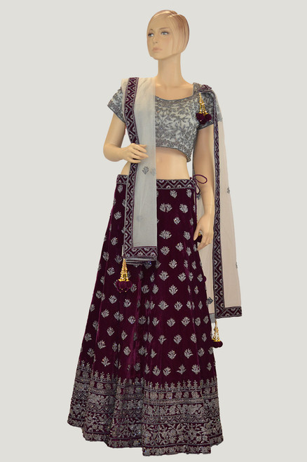 Purple Grey Bridal Lehenga Choli  (L0192)
