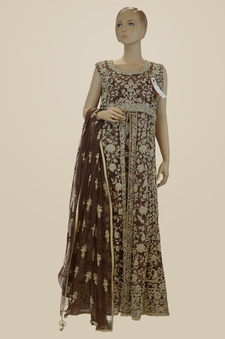 Brown color wedding or reception wear gown (D1035)