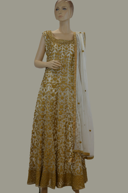 Off White and Gold Dress (D1039)
