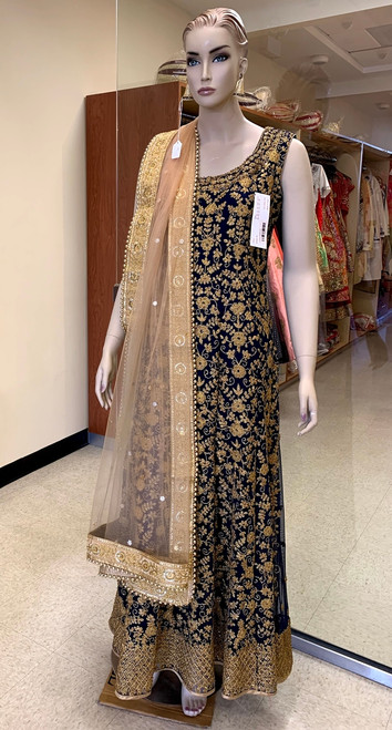 Navy blue designer dress with gold work. Dupatta is not included.
