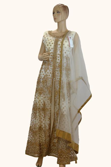 Off-White And Gold Color Salwar Kameez (D1044)