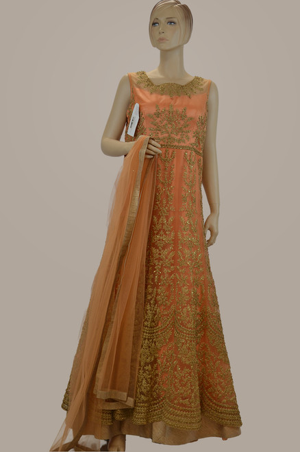 Orange color gown
