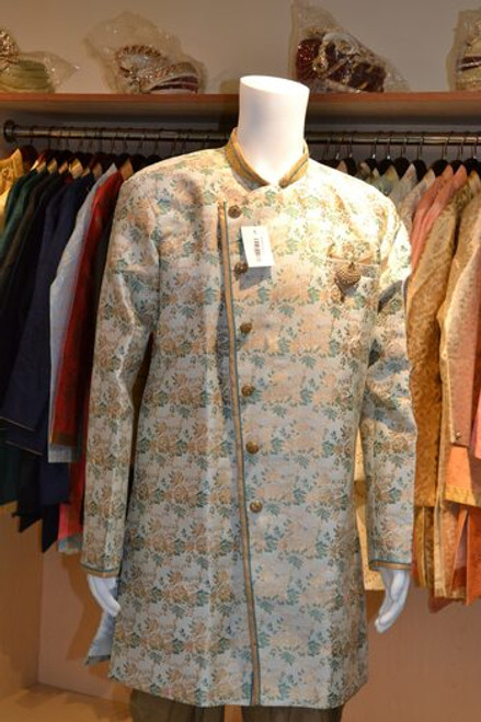 Light Green and Gold Indo Western Sherwani (M0360B)