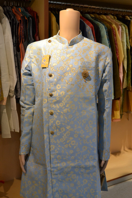 Light blue Indo western sherwani (M0365A)