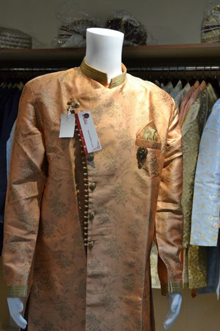 Peach and gold Indo western sherwani (M0356C)