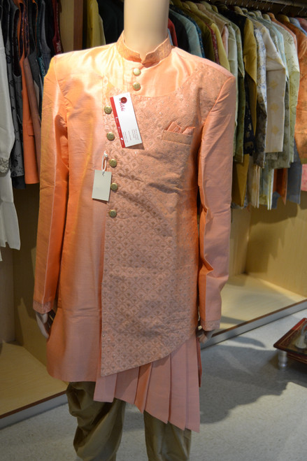 Peach color indo western sherwani