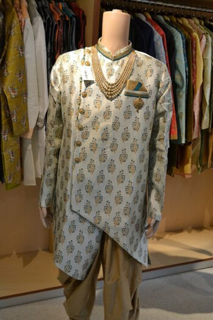 Grey and Teal color Indo western sherwani (M0363)