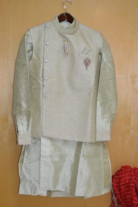 Pista green kurta pajama with Jacket (M0366B)
