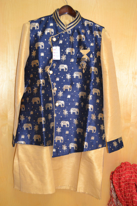 Blue and Gold Kurta Pajama with jacket (M0367)