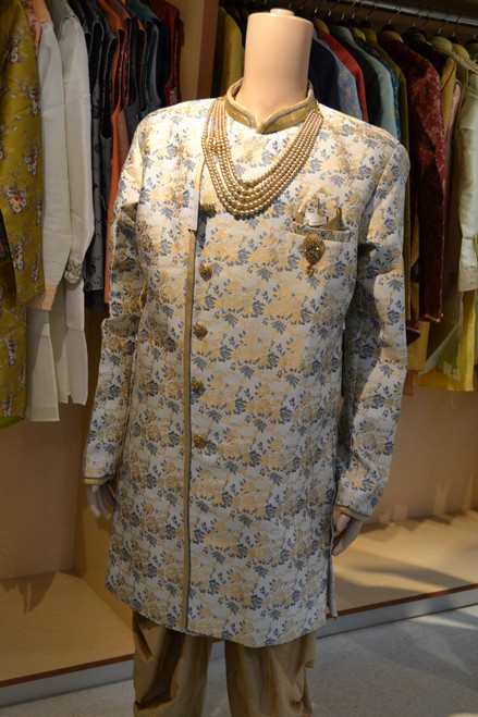 Grey and gold indo western sherwani (M0360A)