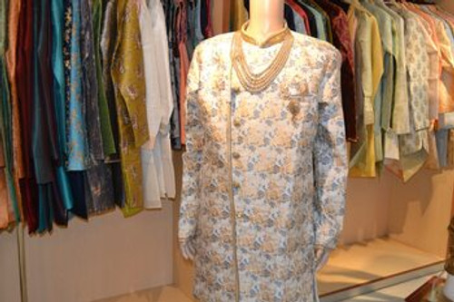 Light Blue and gold indo western sherwani (M0360A)