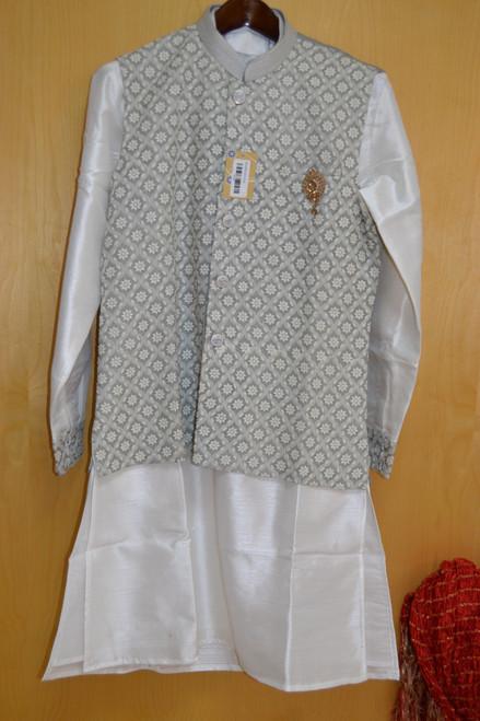 Grey And White Kurta Pajama With Jacket (M0368)