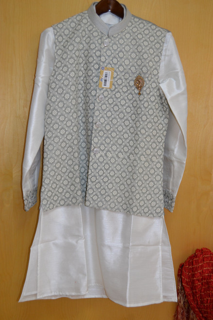 Grey And White Kurta Pajama With Jacket (M0368)