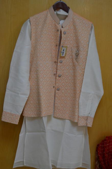 Light Orange And White Kurta Pajama With Jacket (M0368A)