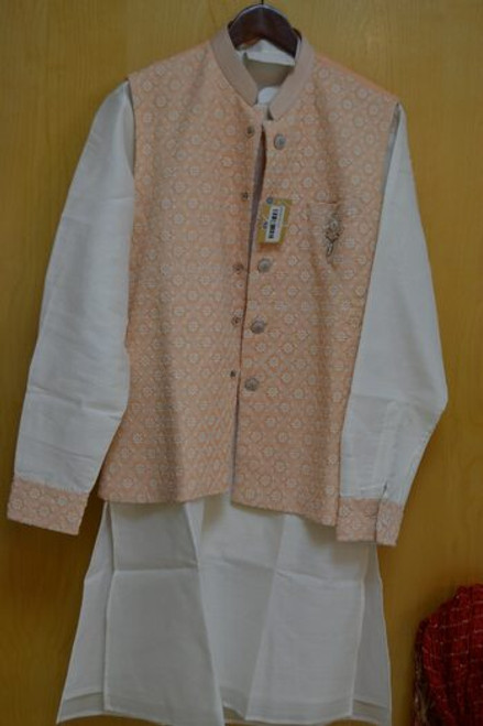 Light Peach And White Kurta Pajama With Jacket (M0368B)