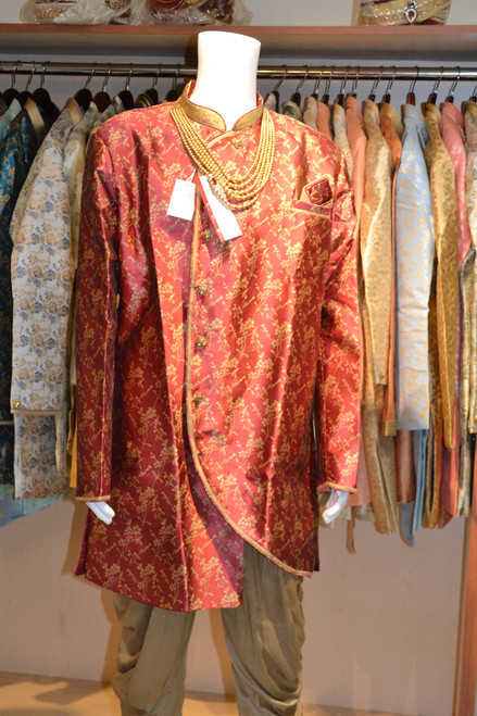 Red And Gold Indo Western Sherwani (M0357)