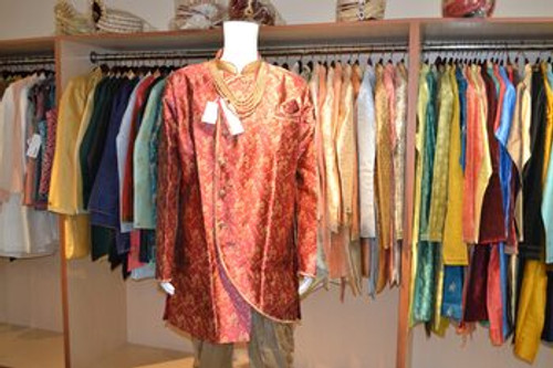 Red and gold color indo western sherwani (M0357C)