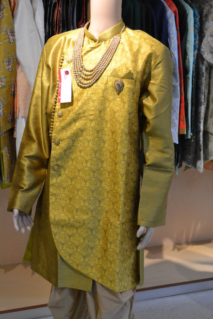Green color Indo western sherwani (M0362)