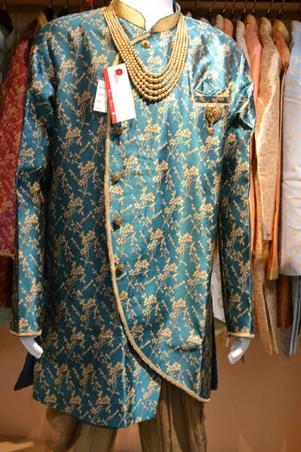 Teal And Gold Indo Western Sherwani (M0357A)