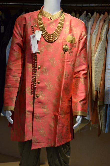 Red color indo western sherwani (M0356B)