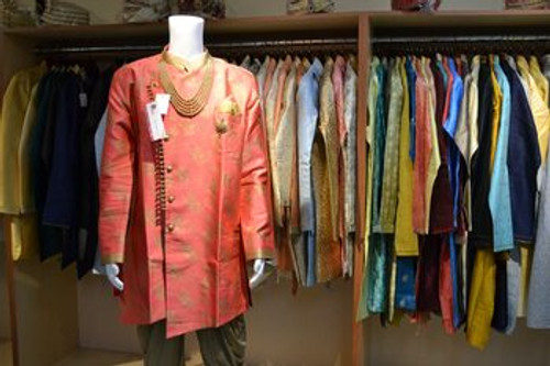 Coral color indo western sherwani (M0356B)