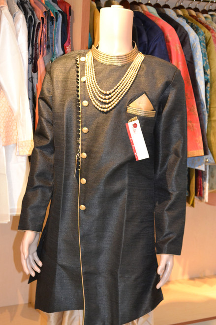 Black and gold kurta pajama (M0353A)