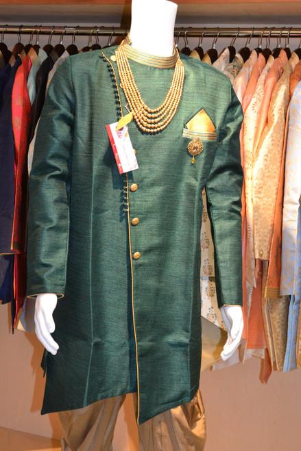Green and gold kurta pajama (M0353B)
