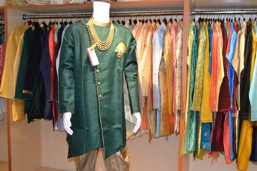 Green and gold kurta pajama (M0353B)