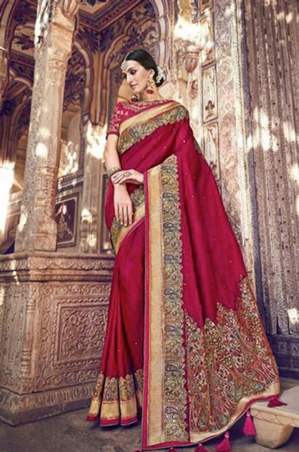 Magenta Banarasi Silk Sari (S0632A)