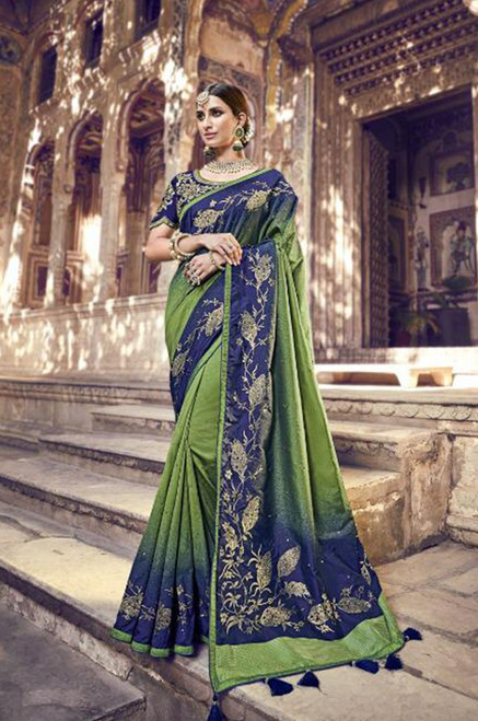 Dark Blue And Green Banarasi Silk Sari (S0632B)