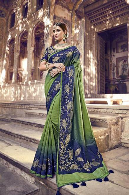 Dark Blue And Green Banarasi Silk Sari (S0632B)