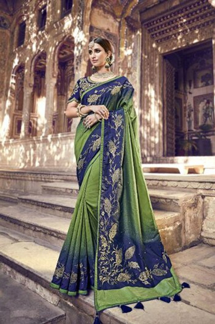 Dark Green And Blue Banarasi Silk Sari (S0632B)