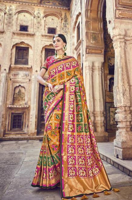 Mustard Banarasi Silk Sari (S0632C)