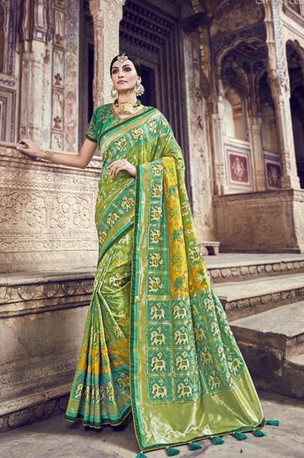 Light Green Banarasi Silk Saree (S0632D)