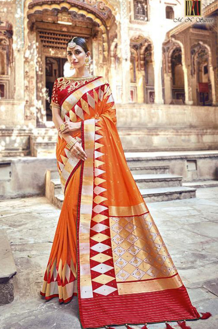 Orange And Red Banarasi Silk Sari (S0632E)