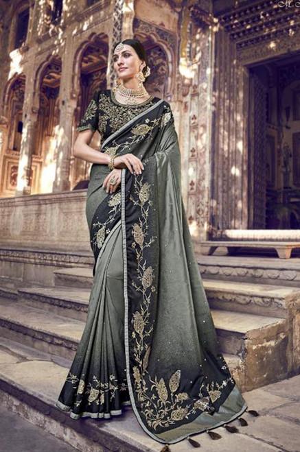 Olive Green Banarasi Silk Sari (S0632F)