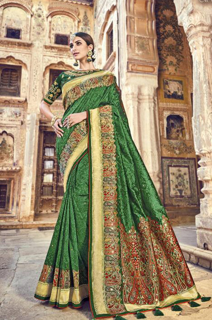 Dark Green Banarasi Silk Saree (S0632G)