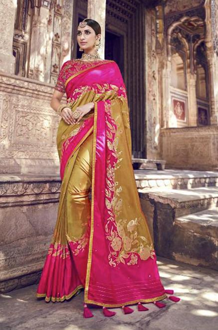 Fuchsia And Beige Color Banarasi ilk Saree (S0632H)
