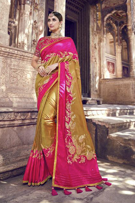 Fuchsia And Beige Color Banarasi ilk Saree (S0632H)