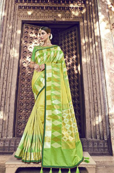 Light Green Banarasi Silk Saree (S0632I)