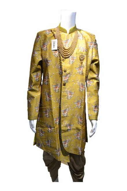 Parrot Green Indo-Western Sherwani( M0359A)