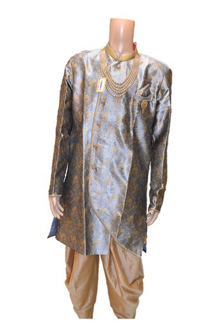 Grey And Gold Indo Western Sherwani (M0357B)