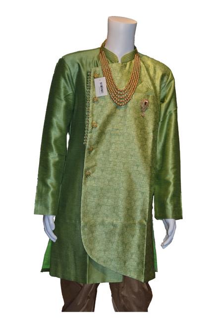 Green Indo western sherwani (M0362B)