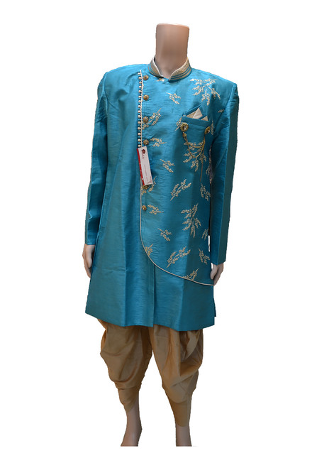 Teal Color Indo Western Sherwani (M0350)