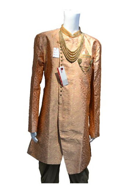Orange And Gold sherwani (M0351A)